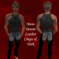 mens denim leeather chaps and tank 2