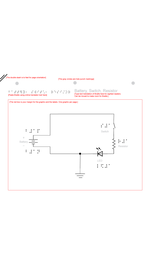 Schematic of Battery, switch, resistor, LED by Krizia