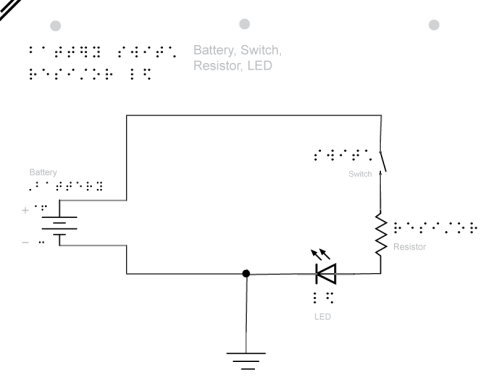 Schematic of a battery, LED, resistor and switch