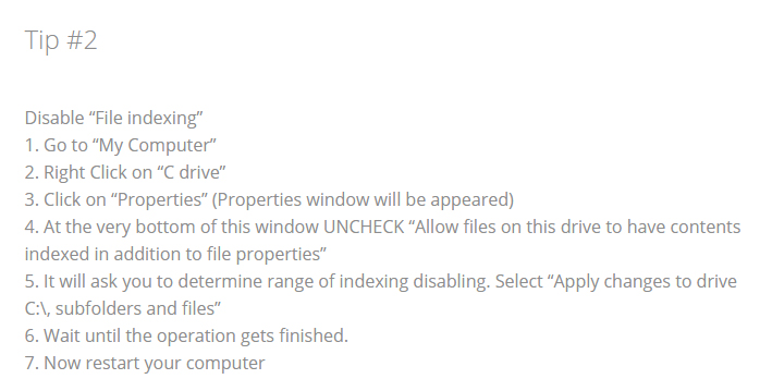 Windows modules installer worker Tip 2 Disable file indexing