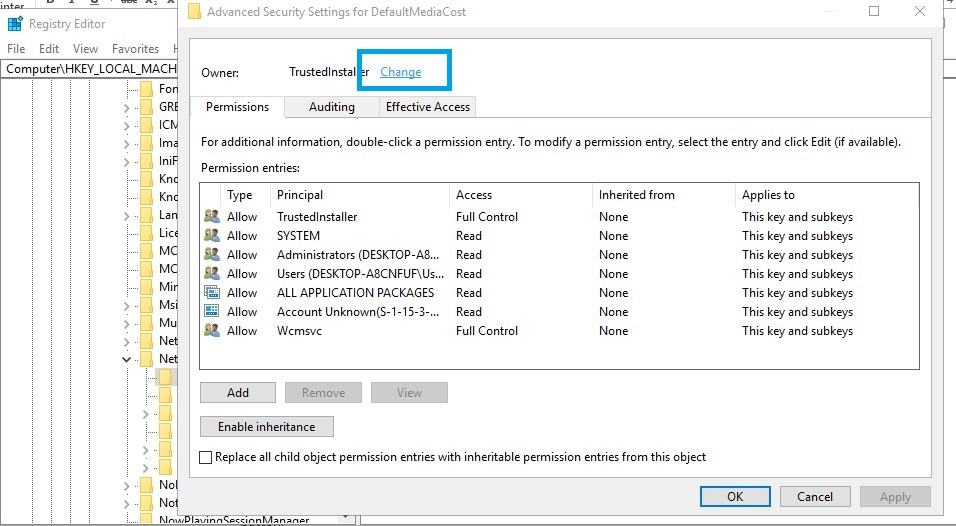 Windows modules installer worker regedit defaultmediacost permission Change