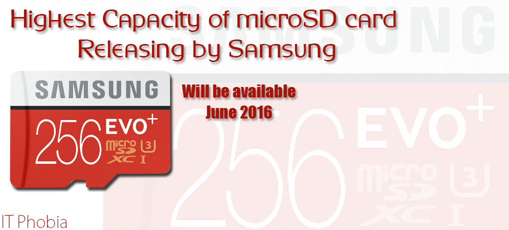 256GB microSD Card is the highest storage announced by Samsung