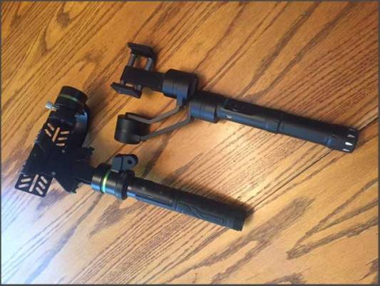 Best Smartphone Gimbal - LanParte smartphone stabilizer (left) and KumbaCam iPhone gimbal (right)