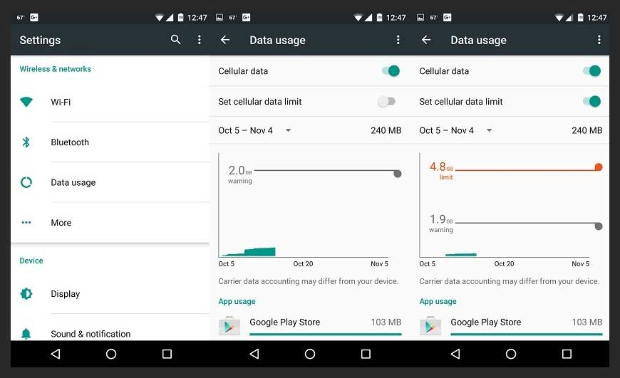android phone tricks Set Mobile Data Limit