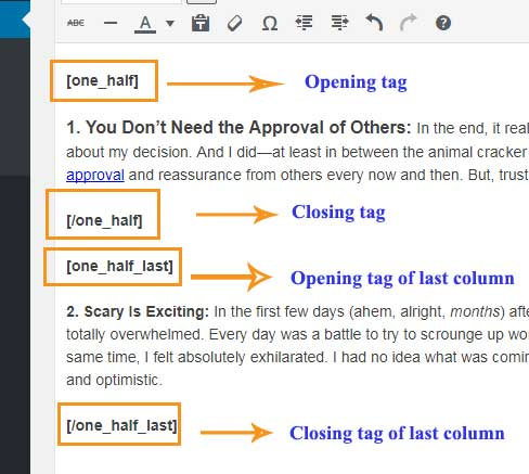WordPress Column creating plugin Opening & Closing Tag