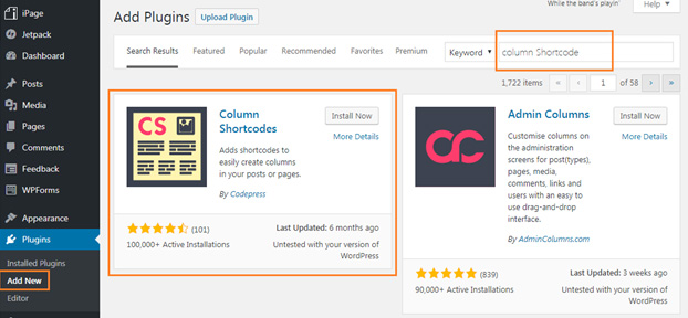 WordPress Columns creating Plugin