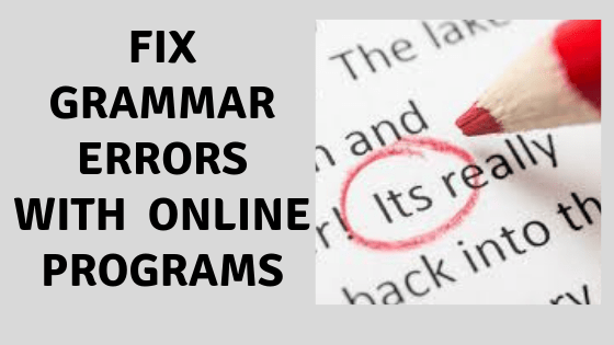 Fix Grammar Errors With Online Programs