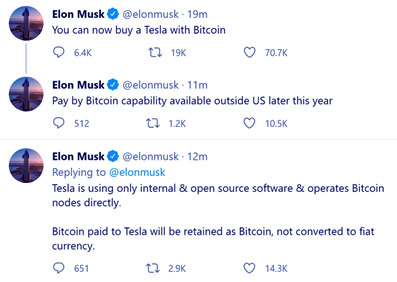 Elon Musk announces that you can buy Tesla from Bitcoin