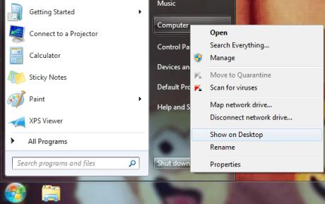 display my computer icon on desktop windows 7- vista