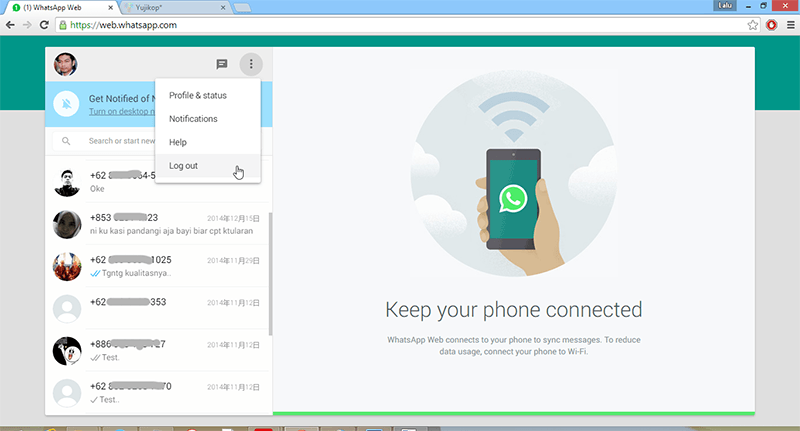 log out WhatsApp Web