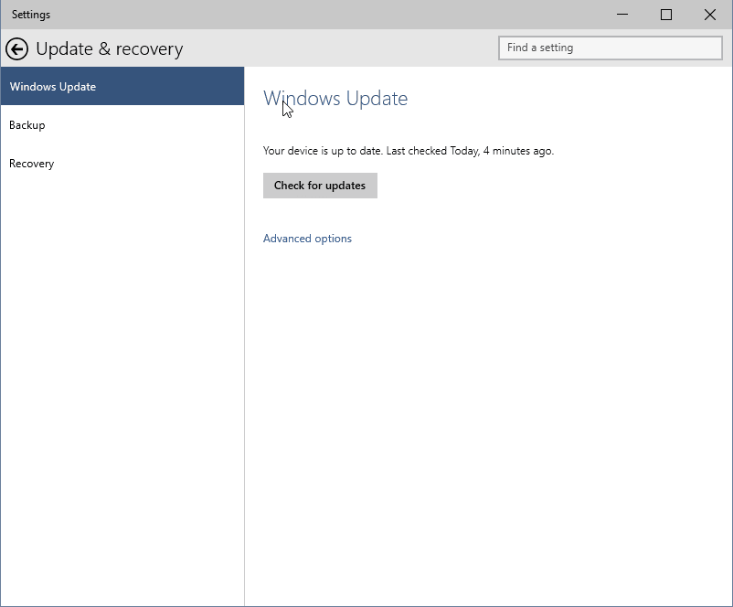 update & recovery Windows 10 9926