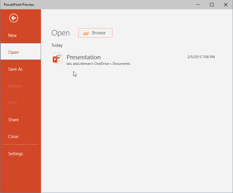 PowerPoint Preview Touch open