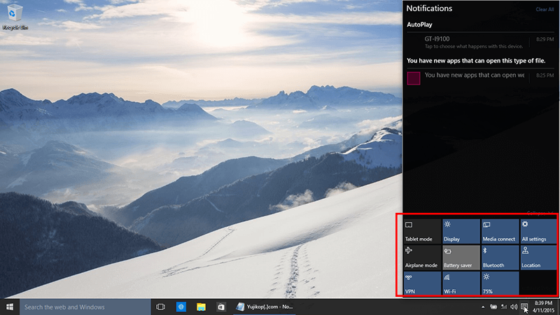 Notification center windows 10 build 10056