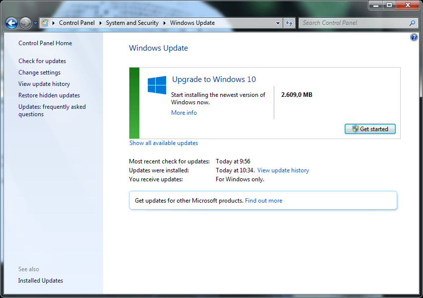 Upgrade ke Windows 10 melalui Windows Update