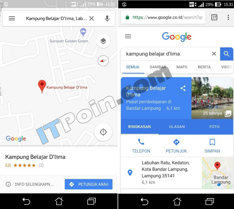 tempat di google maps android