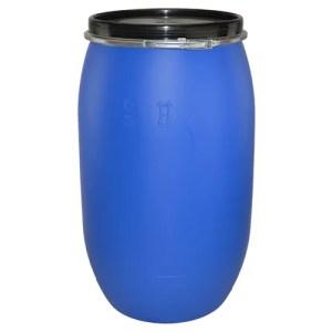 220 litre open top blue plastic drum