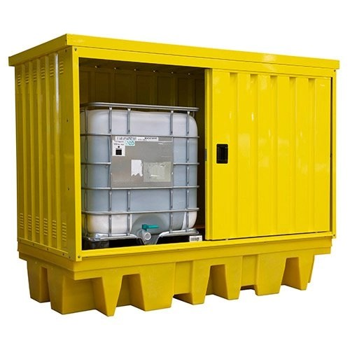 Poly Twin IBC Spill Pallet with Steel Cover