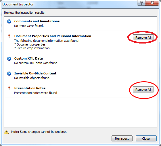 powerpoint document inspector