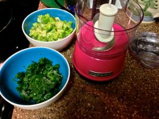 After microwaving, put vegetables in food processor