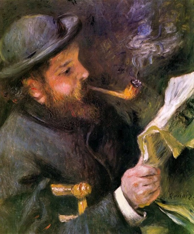 Renoir portrait of Monet reading
