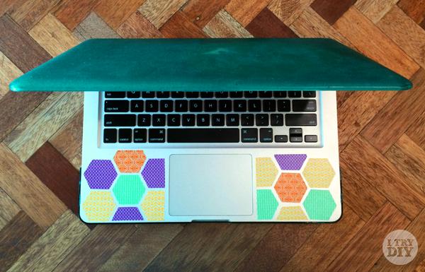 I Try DIY | Washi Honeycomb Laptop Decor