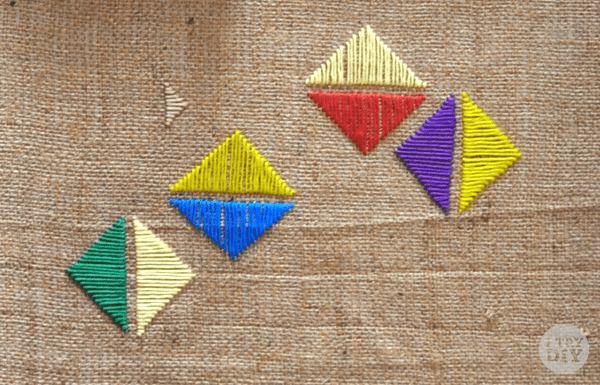 I Try DIY | Wall Art: Geometric Stitching on Burlap