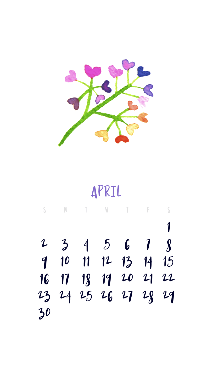 I Try DIY | April 2017 Smartphone Wallpaper Calendar