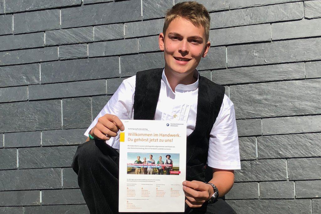 """Der 16-jährige Leon Hain ist von seiner Berufswahl im Dachdeckerhandwerk überzeugt: """"Als Dachdecker sieht man jeden Abend, was man am Tag geleistet hat."""""""