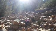 Climbing up rocky trail