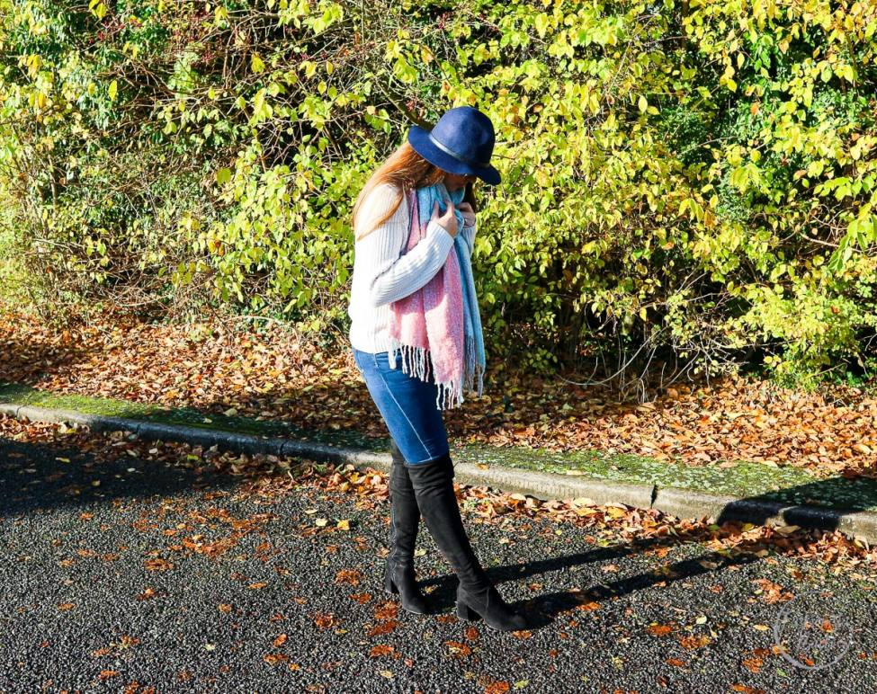 Fashionista Barbie wears oversized scarf, oversized scarf, asos, as seen on me, hat, jeans, over-the-knee-boots, OTKB, winter style, winter fashion, what to wear in winter, fashionista barbie