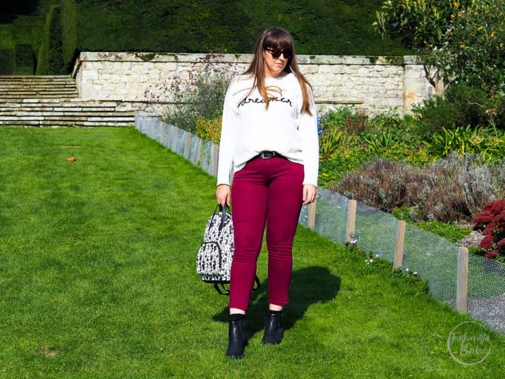 coloured jeans, capsule wardrobe, denim, berry jeans, jeans, gap, gap outlet, matalan, autumn style, how to wear coloured jeans, colored jeans