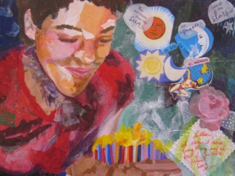 collage painting with acrylic paint by Lillian Connelly: Mixed Media