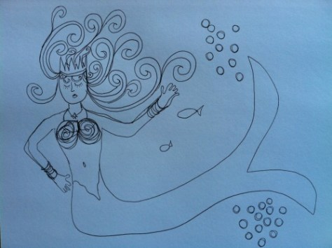 mermaid sketch Hallmark cards