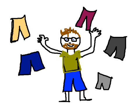 Jim surrounded by shorts