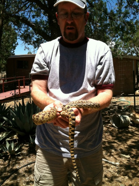 Jim holding the bull snake.