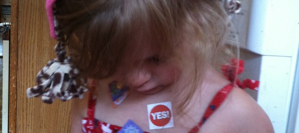 Tiny-Small covered in stickers.