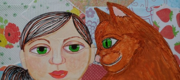 Girl With Cat Collage Painting