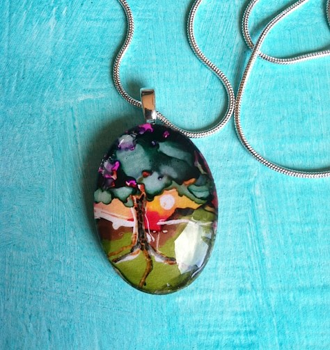 Welcome To Paradise Art Pendant Necklace by Lillian Connelly