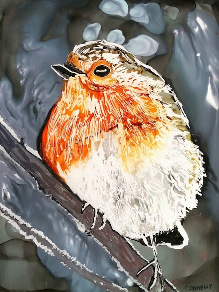 Winter Robin Alcohol Ink Painting by Lillian Connelly
