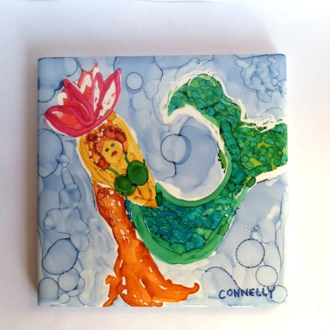 Mermaid Flower Girl Ceramic Art Tile by Lillian Connelly