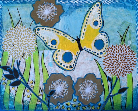 Garden by the seashore mixed media collage art by Lillian Connelly.