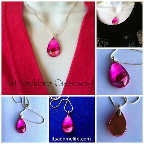 Pink alcohol Ink Art Necklace Giveaway