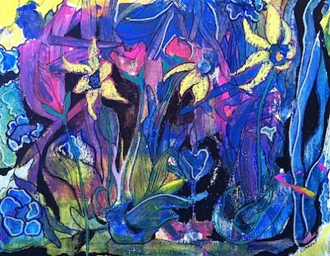 Intuitive Garden painting Day 1 of 30 paintings in 30 days January 2015