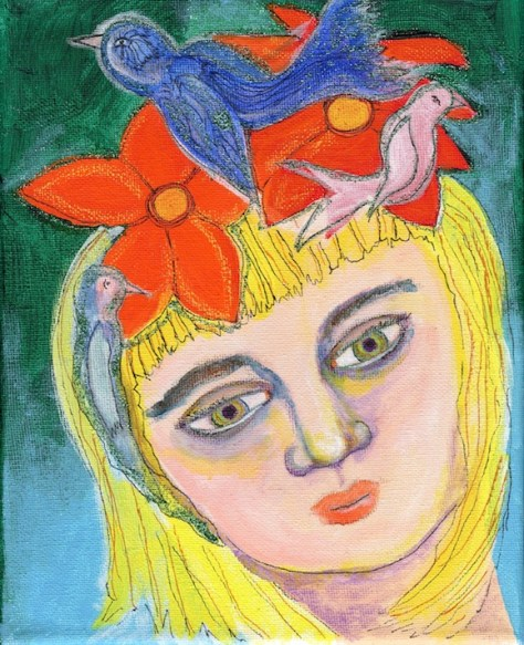 Her Hair Was A Bird's Nest Mixed Media Painting For Day 15 Of 30 Paintings In 30 Days