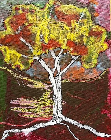 You Can't See the Forest For The Trees: Day 5 of 30 Paintings in 30 Days. Mixed Media Art by Lillian Connelly.