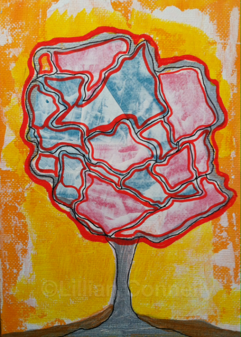 Happy Mixed Media Tree Day 25 Of 30 Paintings In 30 Days