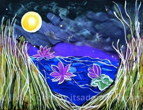 Water Lilies fantasy Landscape Art Painting By Lillian Connelly