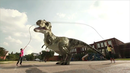 Kids playing jump rope with a friendly Tyrannosaurus Rex. Click here to view this amusing .gif file.