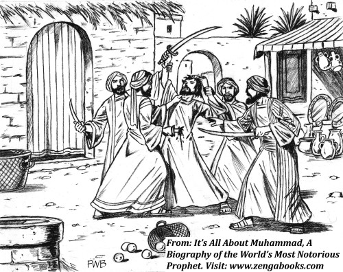 THE MURDER OF KAB ASHRAF.  A wealthy Jewish perfume merchant, Ashraf was one of several poets Muhammad assassinated for composing poems critical of him. Ashraf lived in a fortified compound and had to be lured out. One of the killers Muhammad sent was Ashraf's foster brother, Abu Naila. He was able to trick Ashraf into coming out of his compound on the pretext of borrowing money to buy food.