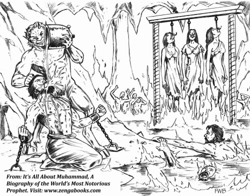MUHAMMAD IMAGINED sadistic tortures awaiting people in hell if they did not believe in him as Allah's Messenger and obey him. His Koran is full of descriptions of horrific torture: people burning in lakes of fire; boiling water or molten metal poured down their throats; women suspended over fire with a hook through their tongues. His imagery worked its way into Christianity via Dante, who's Inferno was inspired by Muhammad's cruel imagination.